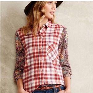 Anthropologie Holding Horses BoHo flannel shirt